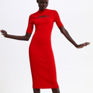 Zara Red Ribbed Knit Dress With Cutout 1509/024